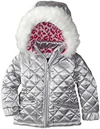Steve Madden Girls\' Baby Girls\' Pongee Jacket with Quilting Faux Fur Trim and Pink Animal Print Inside Hood, Silver, 24 Months
