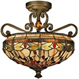 Dragonfly Tiffany Semi Flush Ceiling Light