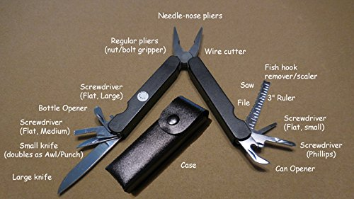 MULTI-TOOL, FULL-SIZE, 15 FUNCTION (KNIFE, PLIERS, SCREWDRIVERS, ETC.), WITH CASE
