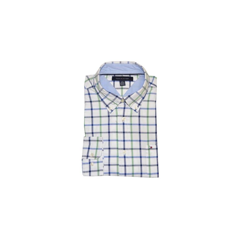 Tommy Hilfiger Men Long Sleeve Plaid Logo Shirt (L, White
