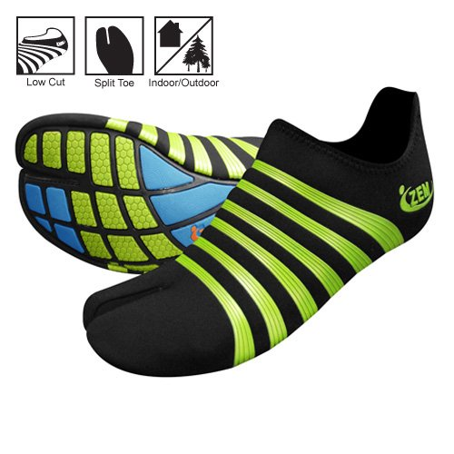 ZEMgear O2 Oxygen Ninja Split Toe - All Sport Series (M8 - W9, Black - Lime Metallic)