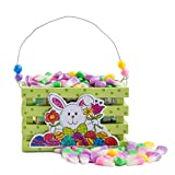 Easter Gift Basket, Beautiful Easter Wooden Mini Crate Filled with Jelly Belly Bunny Corn Pastel Easter Colors, a Classic Gift for Friends and Family.