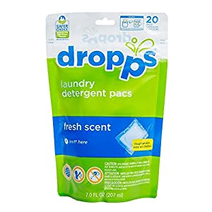 Dropps Laundry Detergent Pacs, Fresh Scent, 20 Loads