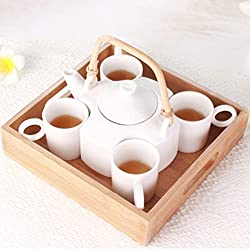 Elegant Tea Kettle & 4 Cups with Wooden Tray