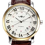 ESS Men's White Dial Roman Numerals Leather Strap Self-Wind Up Automatic Mechanical Watch WM290