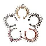 Misscat 5pcs Fake Septum Clicker Crystal Nose Hoop Ring Non Piercing Clip on Jewelry