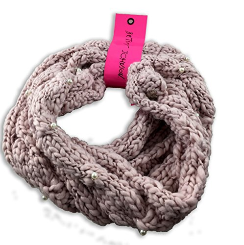 Betsey Johnson Infinity Knit Scarf with Faux Pearl accents -Pink