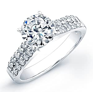 2.80 ct round cut diamond wedding engagement anniversary bridal ring set band on 14k white gold setting