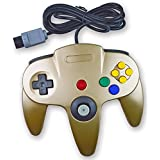 Amoji Classic Wired Controller Joystick Gamepad for Nintendo 64 N64 Game (Golden) (Color: Golden)