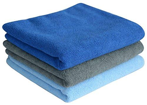 Sinland Multiuso Asciugamano in microfibra Ultra assorbente Asciugamani palestra asciugamani di viaggi Confezione da 3 (33cmx74cm, 1Blu scuro+1Azzurro+1Grigio)