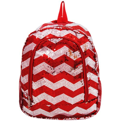 Chevron Pattern Sequin Cheer Yoga Girly School Backpack (Red)