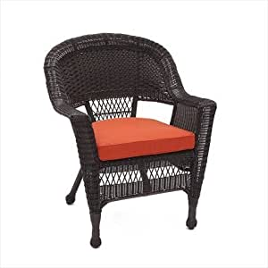 Jeco W00201 C FS018 Espresso Wicker Chair With Red Cushion Pat