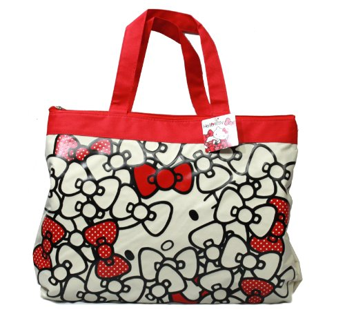 "18"" Hello Kitty Ribbon / Bow Pattern Tote Bag Shoulder Hand Bag - White"