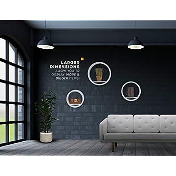 Mesola Design, Wood Floating Shelves Round Shape - Large Circle Hanging Wall Mount Shelf Set - Deep Shelves Perfect For Home Decor, Living Room, Bathroom, Bedroom, Kitchen, and more - Set of 3 (White)