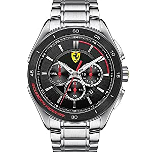 Scuderia Ferrari Watches Men's Gran Premio Chronograph Black Dial Watch In Silver Steel