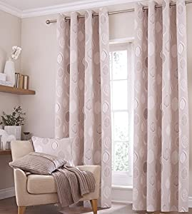 Kalmar Leaf Beige Cream 66x54 Lined Ring Top Cotton Blend Curtains #idnaks *tur*