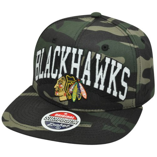 NHL Chicago Blackhawks Camouflage Camo Zephyr Snapback Flat Bill Adjustable Hat at Amazon.com