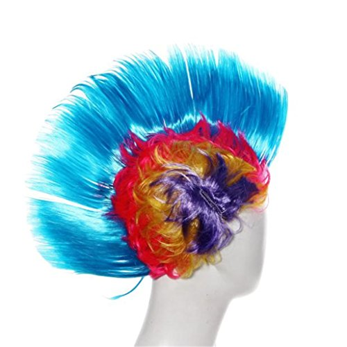 Gotd Halloween Decorations Hallowmas Masquerade Punk Mohawk Mohican hairstyle Cockscomb Hair Wig Fancy Dress Party Wigs Cockscomb Hair Wig Halloween Wig Christmas Wig (Blue) (Curse Of The Blue Lights Vhs compare prices)