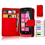 Flip Wallet PU Leather Case Cover For Nokia Lumia 610 Free Screen Protector + Red