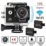 4K Ultra HD Sports Action Camera Wifi 1080P 60fps 16MP 2.0 inch Waterproof Video Camera Car Helmet Camcorder with 2pcs Batteries