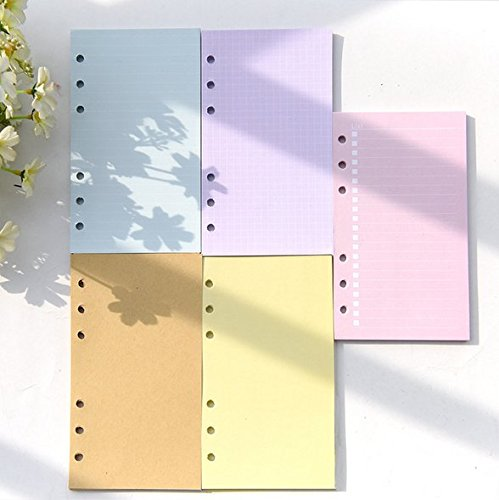 Chris-Wang 5 Sets Assorted Colors Ruled/Plain/To Do List/Blank Refills Inserts Filler Paper Pages for 6-Holes Binder/Journal/Dairy/Day Planner/Personal Organizer, A6 Size, 40 Sheets/Set (Personal Planner Pages compare prices)