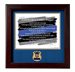 POLICE Medallion Solid Wood Frame Personalized Police Officer Prayer Numbered Print
