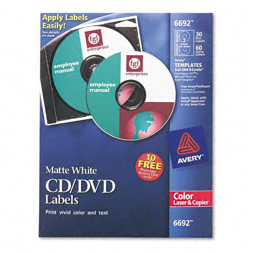 Avery (6692) Matte White Cd Labels ( 30 Disc 60 Spine)