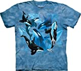 The Mountain Adult 100% Cotton Orca Collage T-Shirt (Ocean Blue, Large)