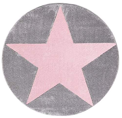kinderteppich happy rugs star silbergrau rosa 133cm rund. Black Bedroom Furniture Sets. Home Design Ideas