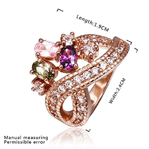 Cy-Buity Rose Gold Plated Ring Shining Crown Color Zricon Crystal Band Ring Finger Ring Bague Size 8