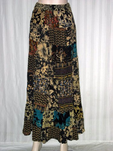 Womens Skirt Boho Fashion Bollywood Fashion Black Floral Print Patchwork Ladies Skirt 38&quot; Long Free Shipping