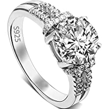 buy Ever Faith 925 Sterling Silver 4 Claw Setting Round .79Ct Cz Engagement Ring Clear- Size 6