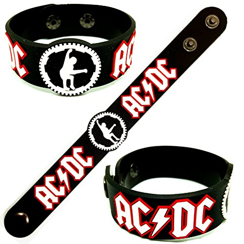 AC-DC Rubber Wristband Bracelet for Men or Women - Soft and Comfortable