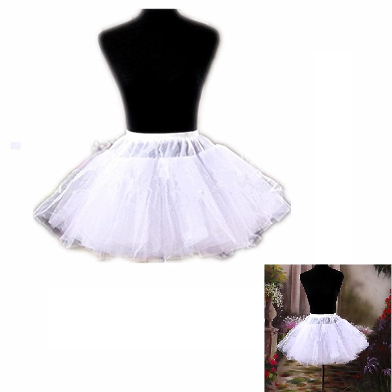 EQLEF® Weiß Kurz Multi-Schichten Tulle Petticoat-Krinoline Unterrock für Mädchen-Frauen