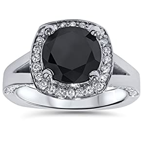 4.00Ct Black & White Diamond Halo Split Shank Engagement Ring 14K White Gold