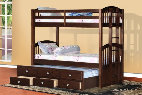 Purchase espresso finish wood twin size bunk bed bunkbed for Cheap double bed frames under 50