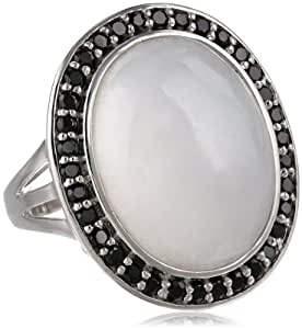 Sterling Silver White Jade and Black Spinel Accent Ring, Size 7
