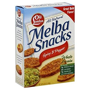 Old London Melba Snack Spicy 3 Pepper, 5.25 ounces Boxes (Pack of 12) by Old London