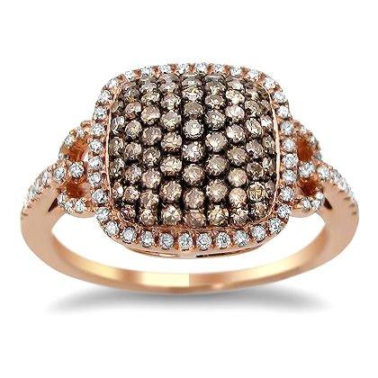 .90Ct Brown Champagne Round Diamond Cocktail Ring 18K Rose Pink Gold