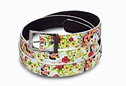 Women multi color flower print belt