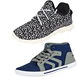 Earton COMBO Pack Of 2 Pair Men/Boys Multi & Blue Sports Shoes With Casual Shoes