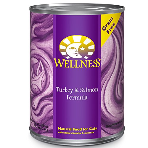 Wellness Complete Health Natural Canned Grain Free Wet Cat Food, Turkey & Salmon Pate, 12.5-Ounce Can (Pack of 12) (Wellness Canned Cat Food Salmon compare prices)