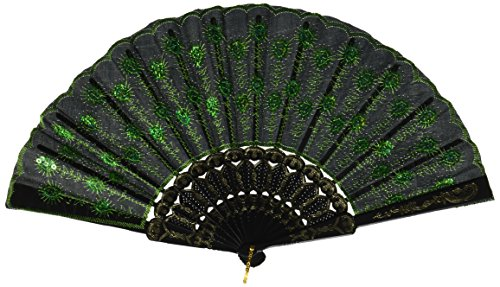 Generic Beautiful Lady's Silk Hand Fan with Green Sequins