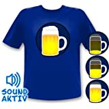 Bierglas Party Shirt / Bierkrug LED T-Shirt Fasching Karneval Oktoberrfest (l)