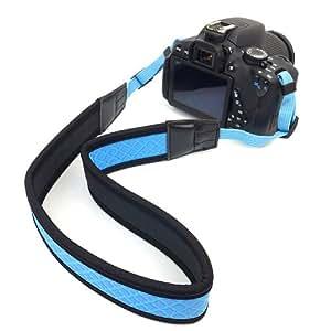 BIRUGEAR courroie sangle épaule cou en néoprène nylon - Bleu en Noir pour DSLR Appareil Photo Kodak Panasonic Canon Nikon Pentax Sony Samsung FujiFilm