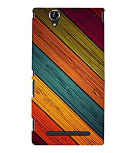 printtech Wooden Colored Streaks Back Case Cover for Sony Xperia T2 Ultra::Sony Xperia T2 Ultra Dual