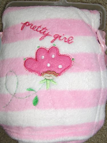 "Sumersault Super Soft Baby Girl Blanket ""Pretty Girl"" Pink Flower Applique & Stripes"