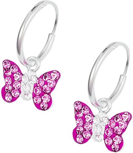 925-Sterling-Silver-Hypoallergenic-Pink-Crystalline-Butterfly-Hoop-Earrings-for-Girls