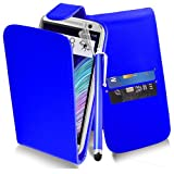 HTC One 2 M8 - Blue Exclusive Easy Clip on Premium PU Leather FLIP / WALLET Case Cover Pouch + Clear Screen Protector + Microfiber Cleaning Cloth + Touch Screen Stylus Pen (New 2014) by Excellent Accessories