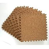 【6畳用】 108枚セット 30cmタイプ ジョイント式 コルクマット (ポルトガル産コルク)